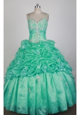 Beautful Ball Gown Straps Floor-length Teal Quinceanera Dress