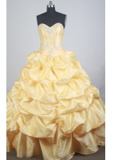 Luxurious Ball Gown Sweetheart  Floor-length Yellow Quinceanera Dress