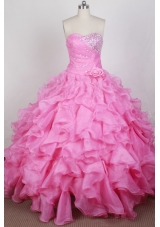 Beautful Ball Gown Sweetheart Neck Floor-length Pink Quinceanera Dress