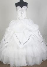 Elegant Ball Gown Sweetheart Neck Floor-length White Quinceanera Dress