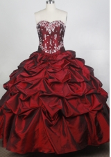 Exquisite Ball Gown Sweetheart Neck Floor-length Burgundy Quinceanera Dress