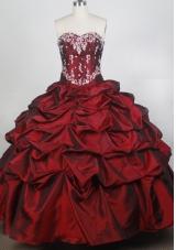 Exquisite Ball Gown Sweetheart Neck Floor-length Burgundy Quinceanera Dress