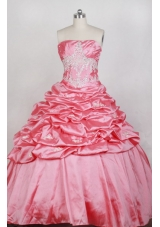 Luxurious Ball Gown Strapless Floor-length Watermelon Quinceanera Dress