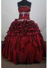 Modest Ball Gown Strapless Floor-length Burgundy Quincenera Dresses