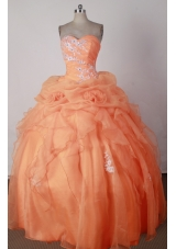 Beautiful Ball Gown Sweetheart Neck Floor-length Orange Red Quincenera Dresses