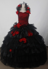 Fashionable Ball Gown Halter Floor-length Black Quincenera Dresses