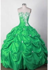 Lovely Ball Gown Sweetheart Floor-length Green Quincenera Dresses