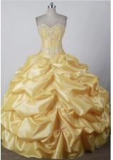 Sweet Ball Gown Sweetheart Floor-length Yellow Quincenera Dresses