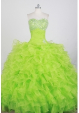 Modest Ball Gown Strapless Floor-length Spring Green Quinceanera Dress