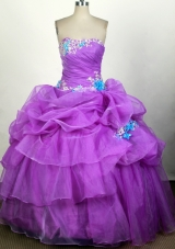Popular Ball Gown Strapless Floor-length Fuchsia Quinceanera Dress
