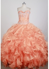 Popular Ball Gown Strapless Floor-length Orange Quinceanera Dress
