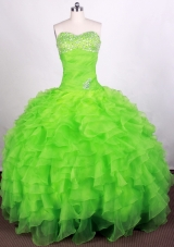 Beautiful  Ball Gown Sweetheart Floor-length Spring Green Quinceanera Dress