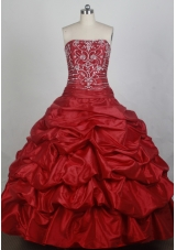 Elegant Ball Gown Strapless Floor-length Red Quincenera Dresses