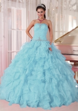 2014 Low Price puffy Light Blue Discount Quinceanera Dress with Beading and Ruffles