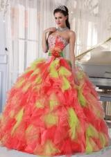 Appliques and Ruffles Organza Multi-color Discount Quinceanera Dress