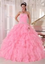 Baby Pink Ball Gown Strapless Floor-length Organza Beading Fashionable Quinceanera Dress,�Sweet and fabulous! Are you looking for your dream dress for the sweet 15/16. This must be just the one for you!It features a fashionable strapless neckline with clear beading encrusted on the corset bodice. Ruffled skirt makes the gown puffy and flattering.A lace up back closure the look.