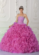 Ball Gown Strapless Organza Beaded Hot Pink Cheap Quinceanera Dress