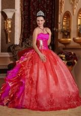 Ball Gown Strapless Ruffles and Beading Embroidery Red Designer Quinceanera Dress,The strapless sweetheart neckline is completely adorned with crystals. 