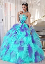 Ball Gown Sweetheart Organza Floor-length Appliques Designer Quinceanera Dress