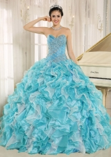 Beaded Ruffles Custom Made For 2013 Aqua Blue Elegant Quinceanera Dress