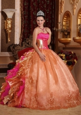 Discount Ball Gown Strapless Ruffles Organza Elegant Quinceanera Dress with Embroidery,The strapless sweetheart neckline is completely adorned with crystals. 
