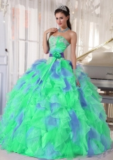 Green and Blue Sweetehart Ruffles and Appliques Discount Quinceanera Dress