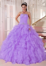 Ball Gown Strapless Lavender Organza Beading Sweet Sixteen Dress for Party,�Sweet and fabulous! Are you looking for your dream dress for the sweet 15/16. This must be just the one for you!It features a fashionable strapless neckline with clear beading encrusted on the corset bodice. Ruffled skirt makes the gown puffy and flattering.A lace up back closure the look.