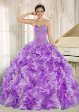 Beaded and Ruffles Custom Made For 2013 Plus Size Quinceanera Dress In Purple and White