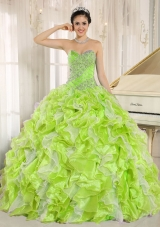 Beaded and Ruffles Custom Made For Yellow Green Sweet Fifteen Dress,�This fantastic apple green quinceanera dress features a fitted bodice with ruching and exquisite rhinestones. The flirty skirt in luxurious tulle is voluminous with swirling tiers of ruffles in multiple colors for a festive look. A lace up corset style closure in the back secures the dress in place. So gorgeous and perfect! You are the Queen in the dance floor.