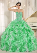 Green Beaded and Ruffles Custom Made For 2013 Sweetheart Quinceanera Dress 2014