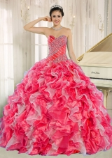 Red and White New Style Quinceanera Dress with Beading and Ruffles for Custom Made