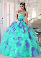 Ruffles and Appliques Floor-length Vestidos de Quinceanera Dress with Organza