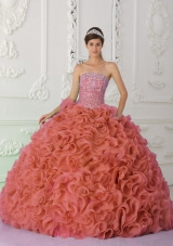 Rust Red Strapless Organza Beading and Ruffled Plus Size Quinceanera Dress
