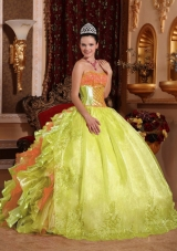Spring Green Ball Gown Strapless Floor-length Organza Embroidery Sweet Sixteen Dress,The strapless sweetheart neckline is completely adorned with crystals. 