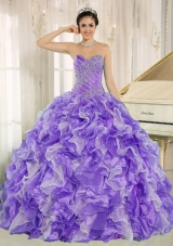 Beaded and Ruffles Custom Made For 2013 Purple Vestidos de Quinceanera Dress
