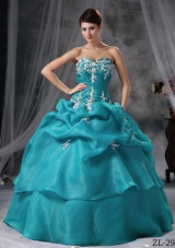 2014 Gorgeous Ball Gown Sweetheart Appliques Quinceanera Dress with Pick-ups