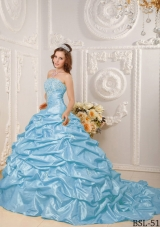 Ball Gown Strapless Appliques and Beading Quinceanera Dress with Court Train
