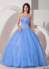 Beautiful Sweetheart Satin and Organza Appliques Quinceanera Dress with Beading