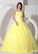 Princess Strapless Tulle Yellow Quinceanera Dress with Beading