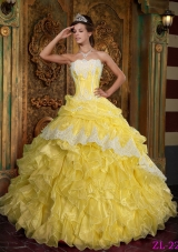 Strapless Ruffles and Appliques Organza Yellow Quinceanera Gown Dresses