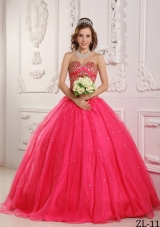 Coral Red Princess Sweetheart Organza Beading Quinceanera Dresses