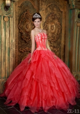 Hot Sale Appliques Organza Coral Red Sweet Sixteen Quinceanera Dresses