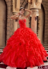 Hot Sale Red Sweetheart Ruffles Organza Quinceanera Dress
