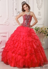 New Style Red Sweetheart Organza Ruffles and Beading Sweet 15 Dresses