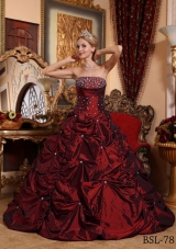 Princess Strapless Taffeta Beading Wine Red Quinceanera Gowns
