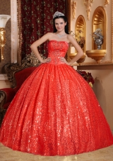 Puffy Discount Strapless Sequined Red Quinceneara Dresses
