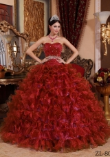 Puffy Sweetheart Organza Ruffles and Beading Wine Red Dresses Of 15