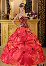 Red Strapless Embroidery and Appliques Taffeta Quinceanera Gowns