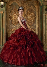 Strapless Organza Ruffles and Appliques Wine Red Quinceanera Dress