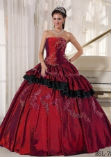 Taffeta Beading Wine Red Appliques Dresses For a Quinceanera